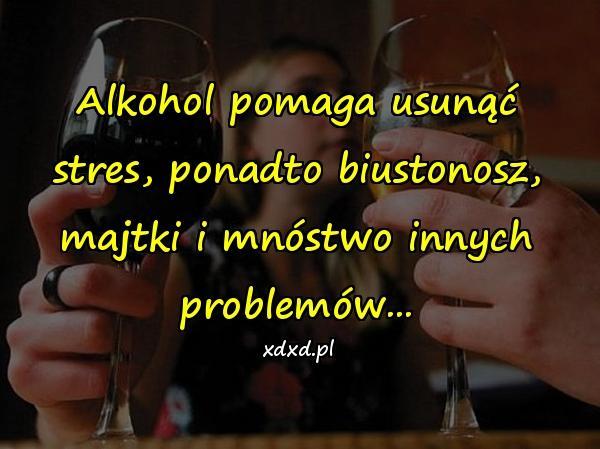 Alkohol pomaga usunąć stres, ponadto biustonosz, majtki i mnóstwo innych problemów...