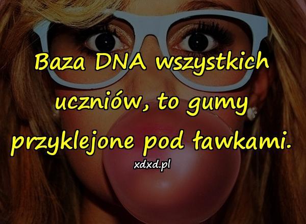 Baza DNA wszystkich uczniów, to gumy przyklejone pod ławkami.