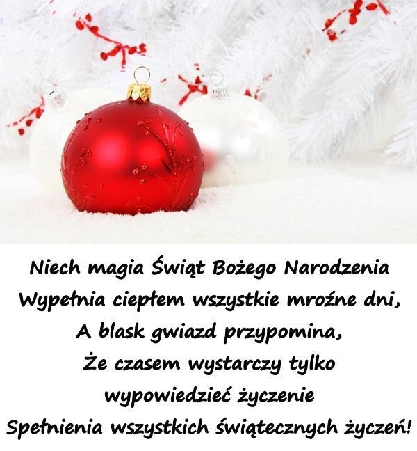Niech magia Świąt Bożego Narodzenia Wypełnia ciepłem wszystkie mroźne dni, A blask gwiazd przypomina, Że czasem wystarczy tylko wypowiedzieć życzenie Spełnienia wszystkich świątecznych życzeń!