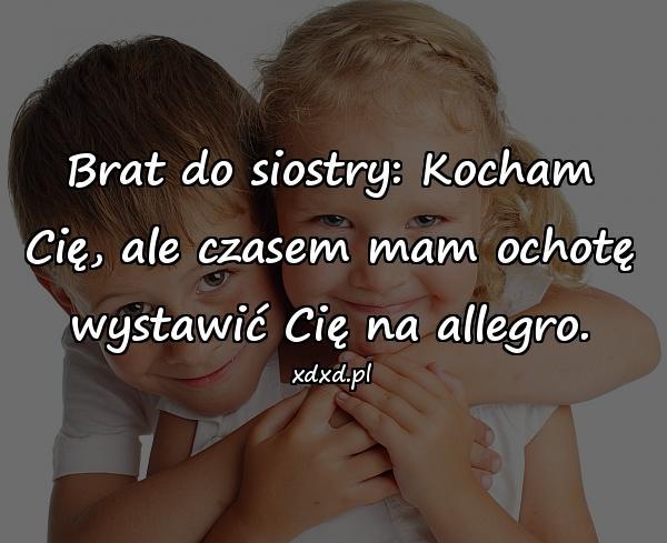 Brat do siostry: Kocham Cię, ale czasem mam ochotę wystawić Cię na allegro.
