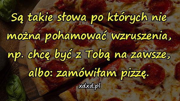 Są takie słowa po których nie można pohamować wzruszenia, np. chcę być z Tobą na zawsze, albo: zamówiłam pizzę.