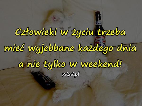 Człowieki w życiu trzeba mieć wyjebbane każdego dnia a nie tylko w weekend!