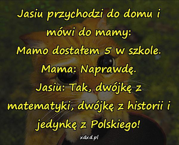 Jasiu przychodzi do domu i mówi do mamy: Mamo dostałem 5 w szkole. Mama: Naprawdę. Jasiu: Tak, dwójkę z matematyki, dwójkę z historii i jedynkę z Polskiego!
