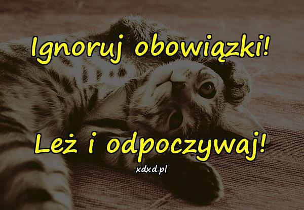 Ignoruj obowiązki! Leż i odpoczywaj!