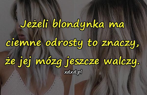 Jeżeli blondynka ma ciemne odrosty to znaczy, że jej mózg jeszcze walczy.