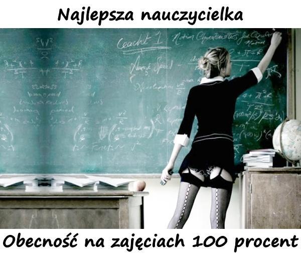 Najlepsza nauczycielka. Obecność na zajęciach 100 procent.