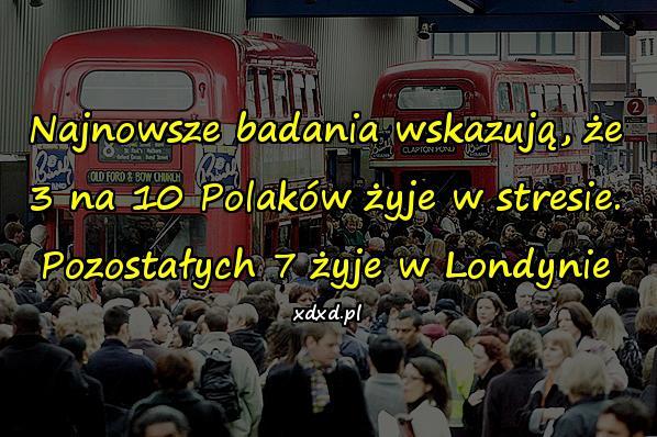 Najnowsze badania wskazują, że 3 na 10 Polaków żyje w stresie. Pozostałych 7 żyje w Londynie