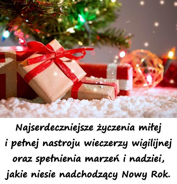 Najserdeczniejsze życzenia miłej i pełnej nastroju wieczerzy wigilijnej oraz spełnienia marzeń i nadziei, jakie niesie nadchodzący Nowy Rok.