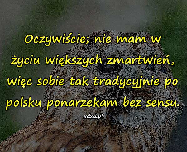 Oczywiście; nie mam w życiu większych zmartwień, więc sobie tak tradycyjnie po polsku ponarzekam bez sensu.