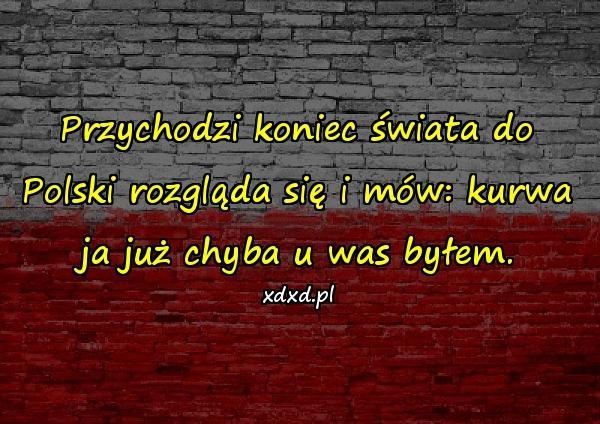 Przychodzi koniec świata do Polski rozgląda się i mów: kurwa ja już chyba u was byłem.