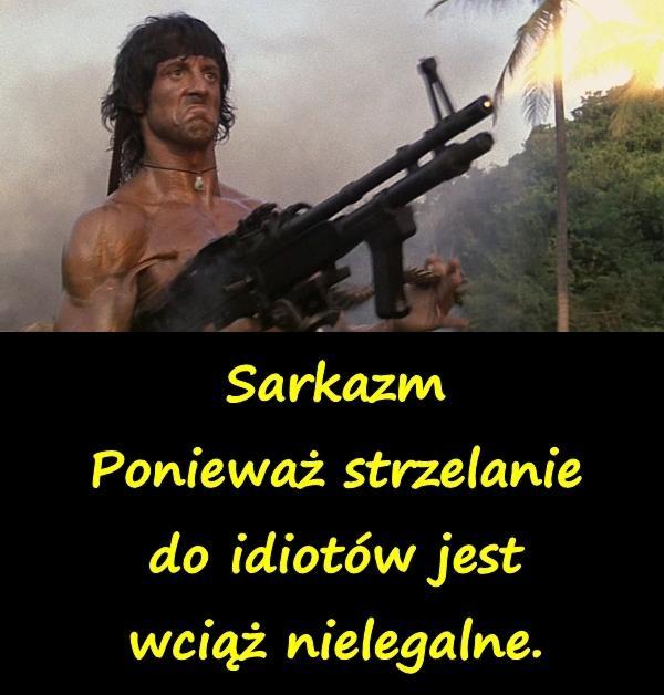 Sarkazm - Ponieważ strzelanie do idiotów jest wciąż nielegalne.