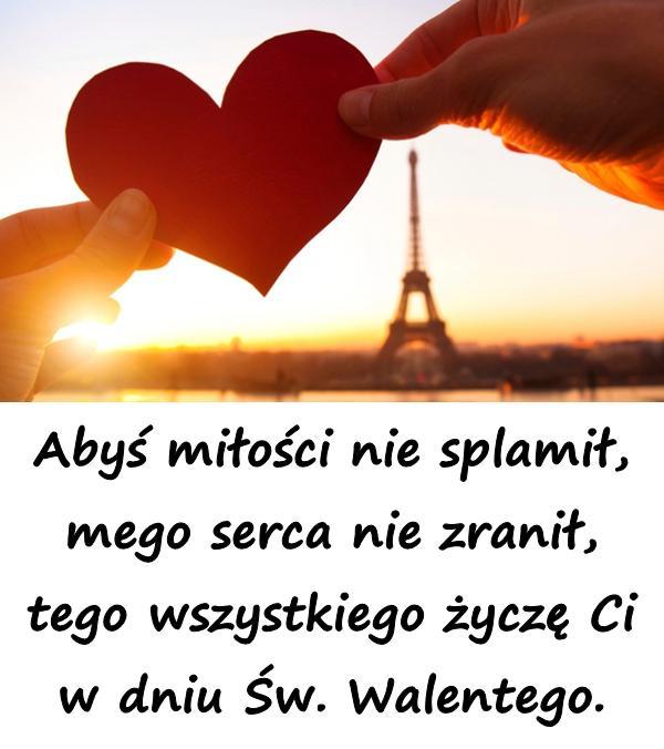 Abyś miłości nie splamił, mego serca nie zranił, tego wszystkiego życzę Ci w dniu Św. Walentego.