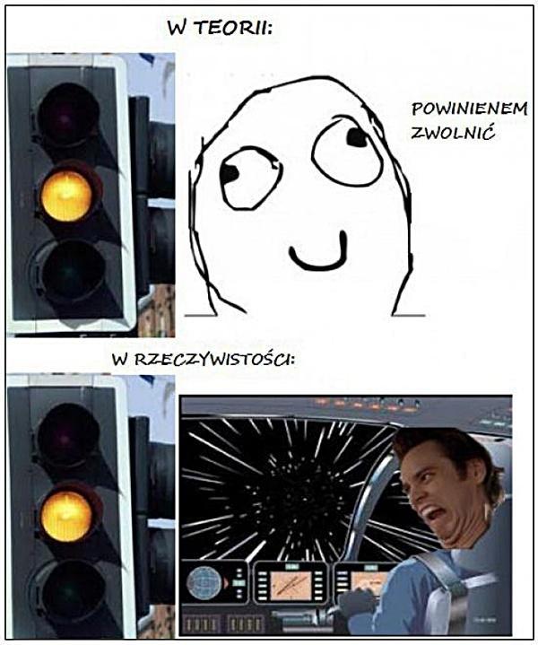 Uwaga kierowco - żółte światło! W teorii: powinienem zwolnić W rzeczywistości: hiperprędkość