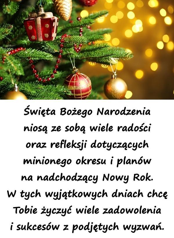 Święta Bożego Narodzenia niosą ze sobą wiele radości oraz refleksji dotyczących minionego okresu i planów na nadchodzący Nowy Rok. W tych wyjątkowych dniach chcę Tobie życzyć wiele zadowolenia i sukcesów z podjętych wyzwań.