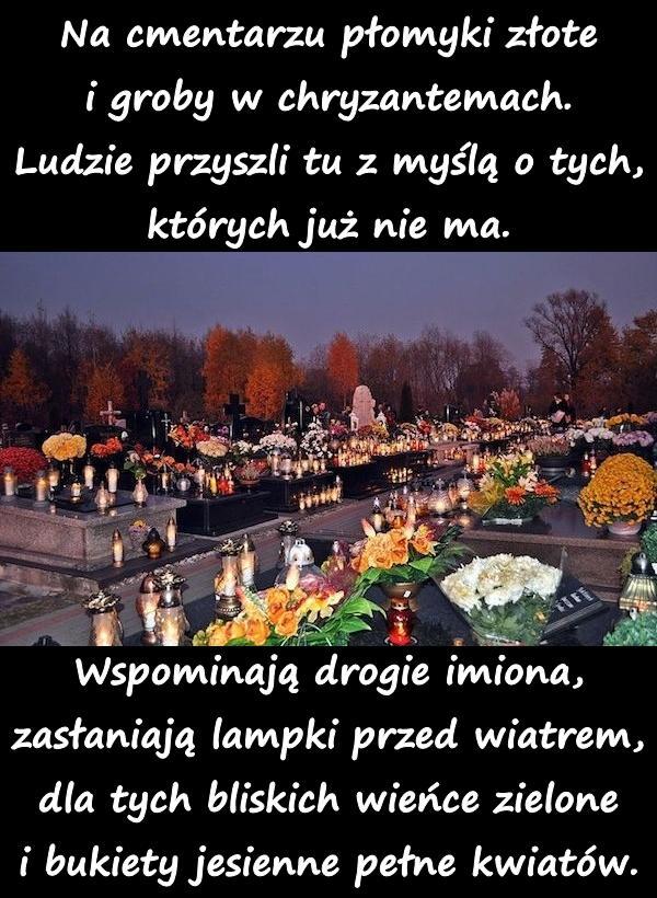 Na cmentarzu płomyki złote i groby w chryzantemach. Ludzie przyszli tu z myślą o tych, których już nie ma. Wspominają drogie imiona, zasłaniają lampki przed wiatrem, dla tych bliskich wieńce zielone i bukiety jesienne pełne kwiatów.