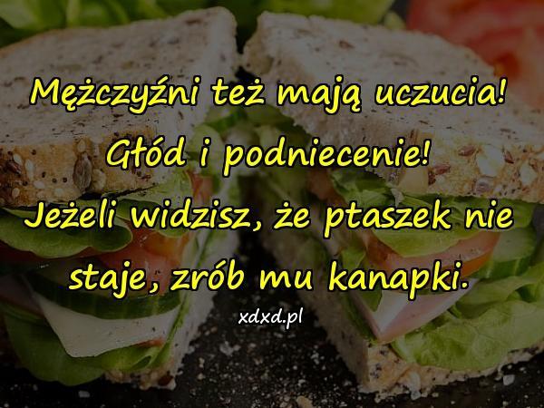 Mężczyźni też mają uczucia! Głód i podniecenie! Jeżeli widzisz, że ptaszek nie staje, zrób mu kanapki.