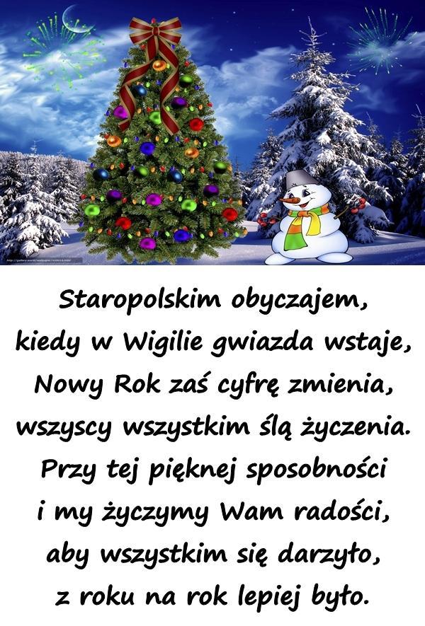 Staropolskim obyczajem, kiedy w Wigilie gwiazda wstaje, Nowy Rok zaś cyfrę zmienia, wszyscy wszystkim ślą życzenia. Przy tej pięknej sposobności i my życzymy Wam radości, aby wszystkim się darzyło, z roku na rok lepiej było.
