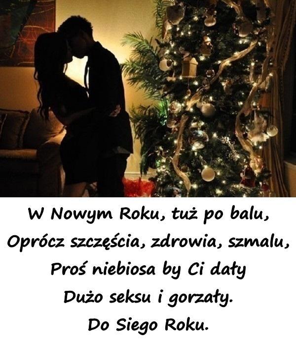 W Nowym Roku, tuż po balu, Oprócz szczęścia, zdrowia, szmalu, Proś niebiosa by Ci dały Dużo seksu i gorzały. Do Siego Roku.