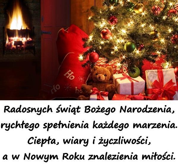 Radosnych świąt Bożego Narodzenia, rychłego spełnienia każdego marzenia. Ciepła, wiary i życzliwości, a w Nowym Roku znalezienia miłości.
