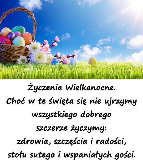 Życzenia Wielkanocne. Choć w te święta się nie ujrzymy wszystkiego dobrego szczerze życzymy: zdrowia, szczęścia i radości, stołu sutego i wspaniałych gości.